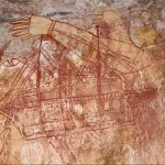 An Aboriginal rock painting in Kakadu National Park of an early European ship.