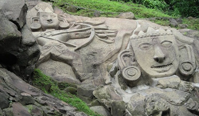 Beautiful stone carvings of unakoti mystery india