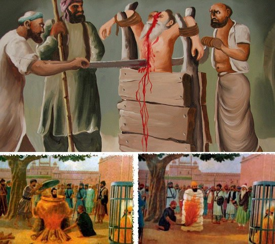 Sawed, Boiled and Burned Alive – Bhai Dayala, Bhai Mati Das and Bhai Sati Das