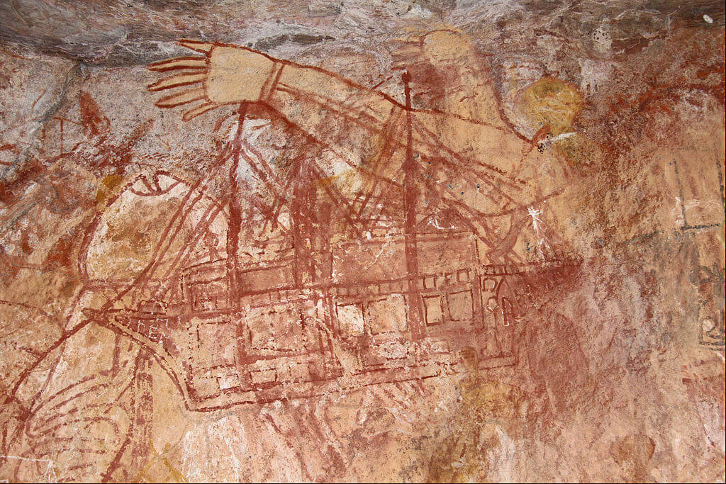 An Aboriginal rock painting in Kakadu National Park of an early European ship.