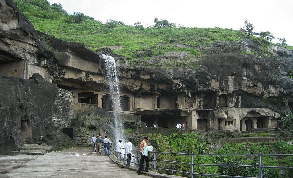 Ellora Caves with waterfall