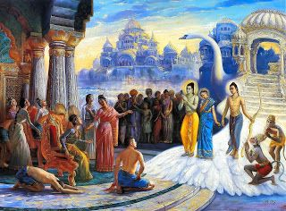 Lord Ram, Sita & Lakshman Reach Ayodhya on the Pushpak Viman