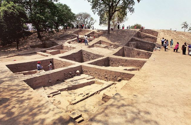 The ASI's excavation that is underway at Purana Quila