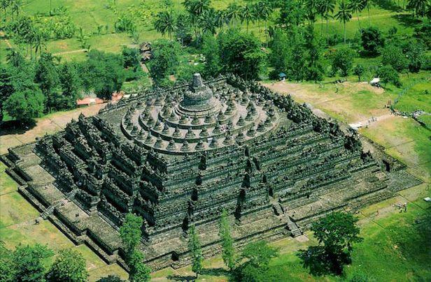 Borobudur temple complex of Indonesia.