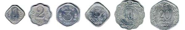 In 1964, India introduced aluminium coins for denominations up to 20p.