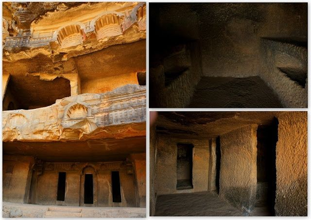 Rock cut Buddhist temple, Bhaja caves in India