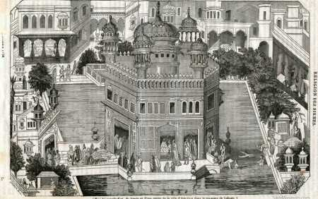 Woodcut engraving, One of the earliest European depictions of the Darbar Sahib complex. The image does not show the lost palace.