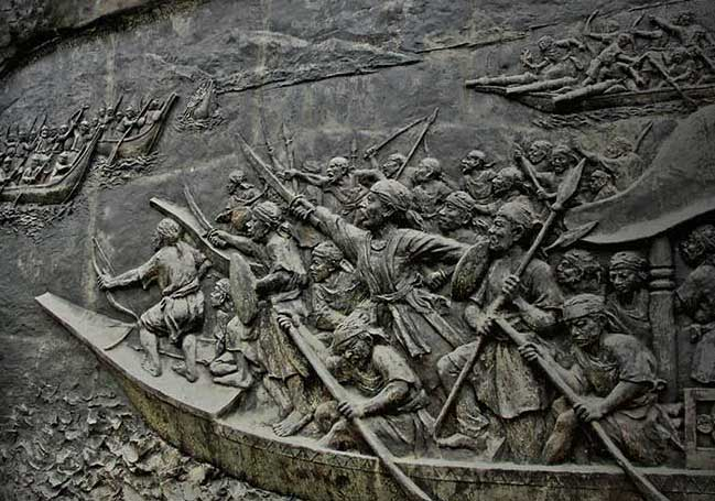 lachit borphukan leading the advance on the Brahmaputra