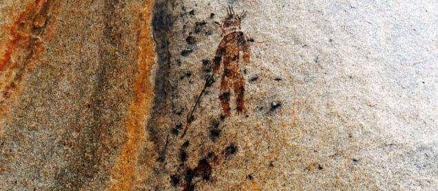 Cave painting depcting Aliens in Chhatisgarh, India