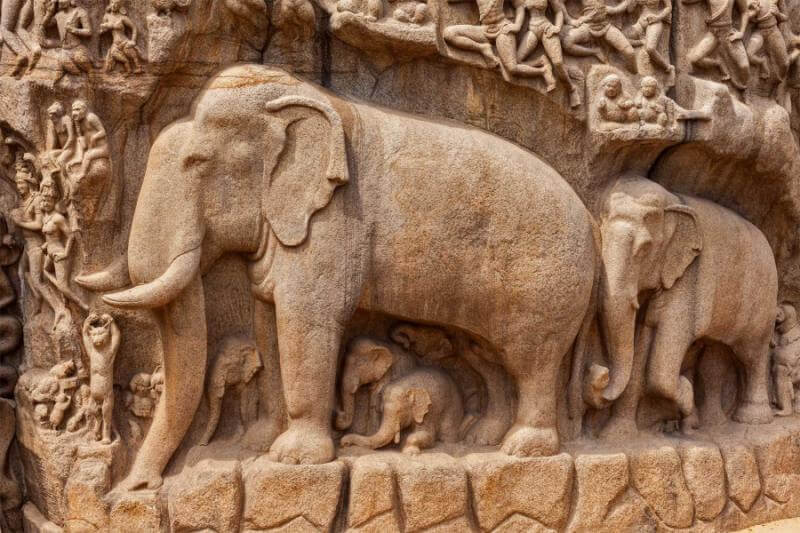 Elephants and other figures (detail), Descent of the Ganges or Arjuna's Penance, 7th-8th century, Mamallapuram, Tamil Nadu, India