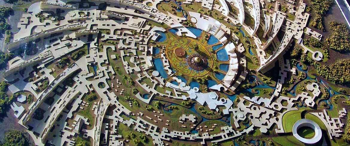 The city plan for Auroville, India from 1965