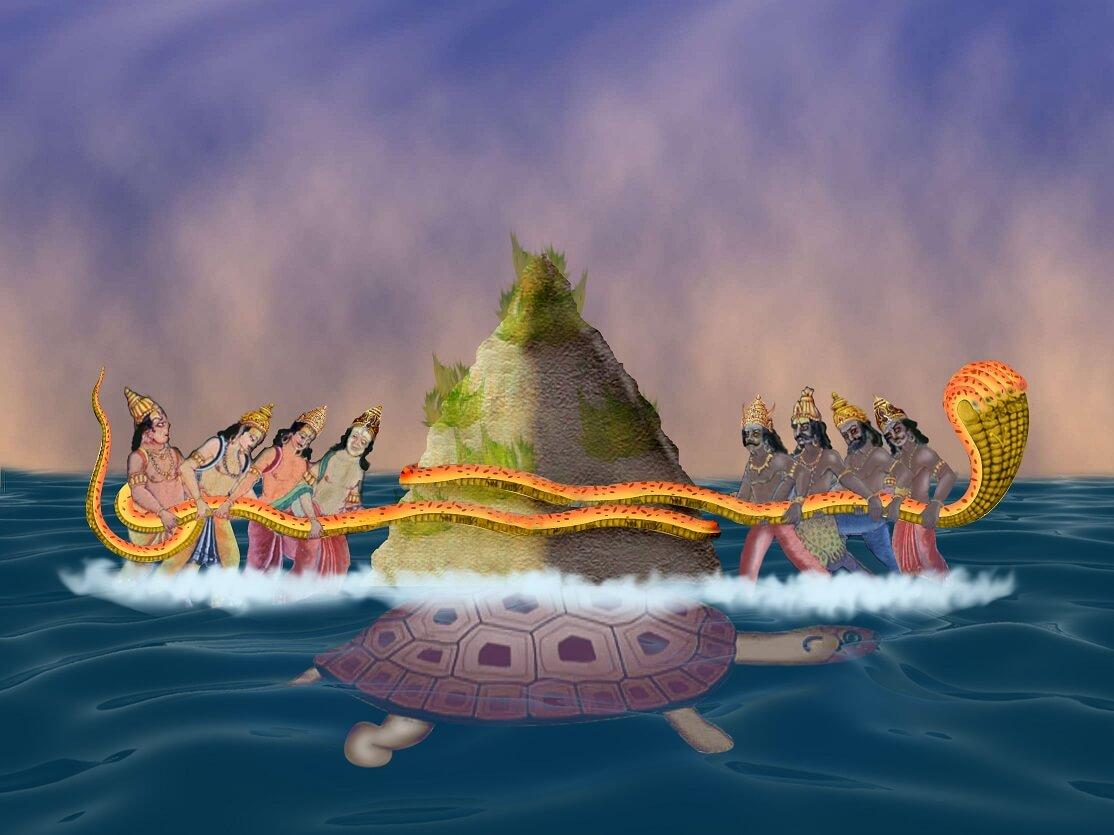 Samudra manthan (Sanskrit: समुद्रमन्थन, lit. churning of the ocean)